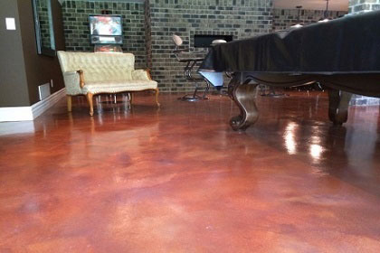 red stained concrete floor