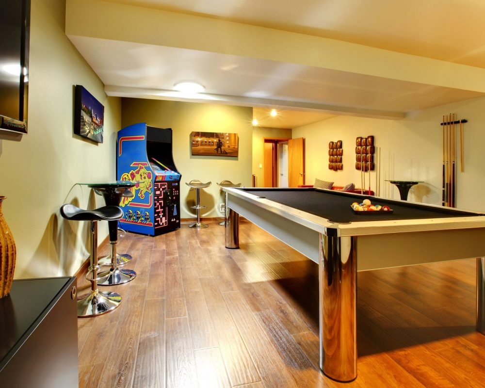 pool table in a gaming room basement